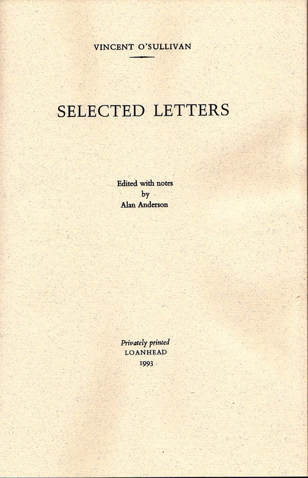 Selected Letters by O'Sullivan, Vincent