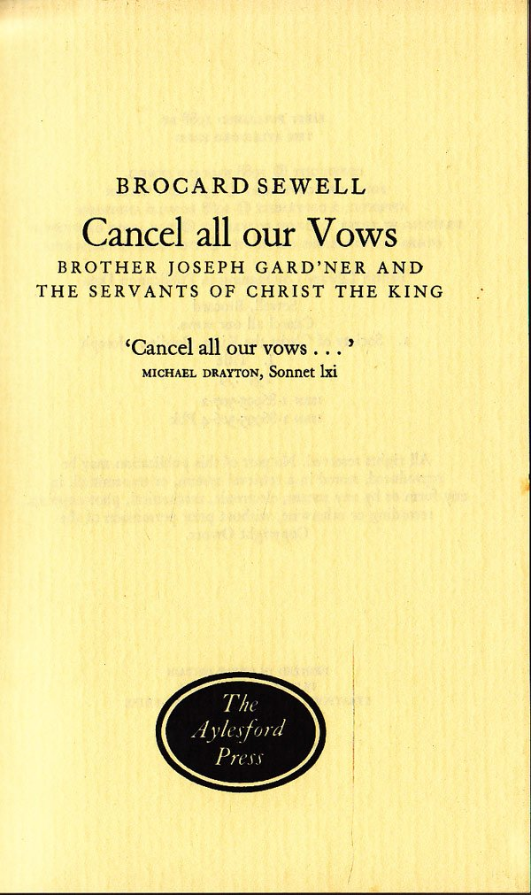 Cancel All Our Vows by Sewell, Brocard